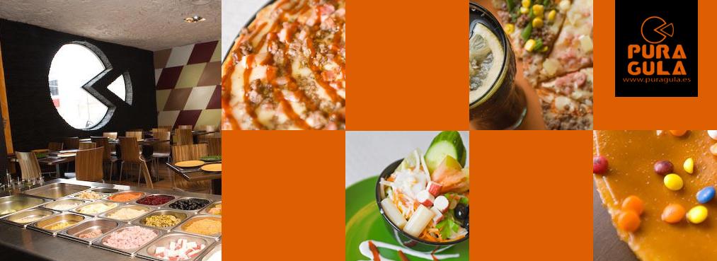 Buffet con pizzas, pastas y ensaladas