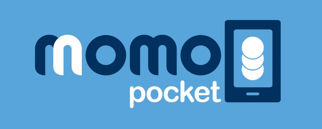 logo momo pocket version celeste